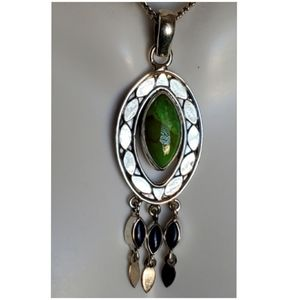 "Jewelry - Green Copper Turquoise & Lapis Pendant 2.25"" long"